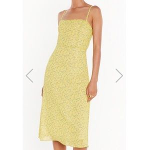 Nasty Gal yellow floral midi dress